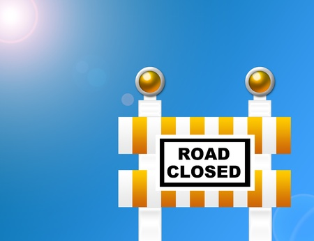 orange and white road closed sign over sky with sun background photo