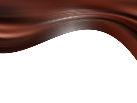 melted chocolate: Brown dynamic waves over white background. illustration