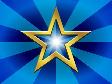 Gold star over blue lines background. Illustration Stock Illustration - 9692991
