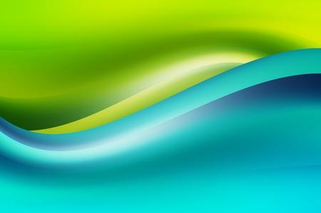 swirl backgrounds: Blue wave dinamico su sfondo verde. Illustrazione astratta Archivio Fotografico
