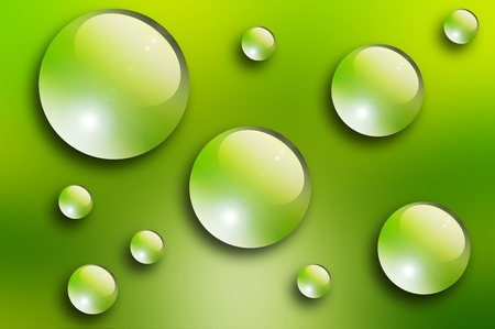 Water drops over green background. Nature illustration Stock Illustration - 9692975