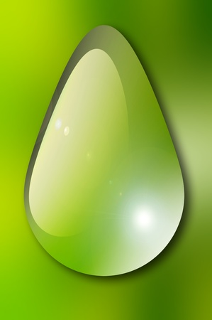 Water drop over green background. Nature illustration Stock Illustration - 9692942