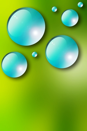 Blue drops over green background. Nature illustration Stock Illustration - 9692938