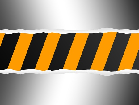 Chome sheet on black and yellow lines. Under construction background Stock Photo - 9692933