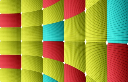 night club interior: Green, blue and red dynamic squares. Abstract illustration