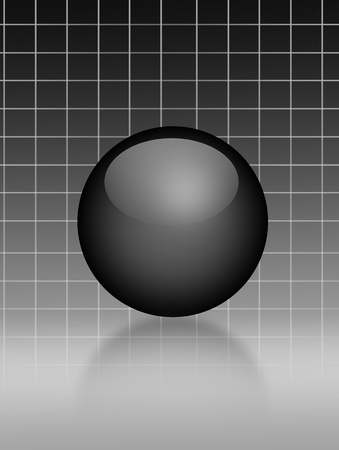 Black sphere over gray lines background. Illustration Stock Illustration - 9692940