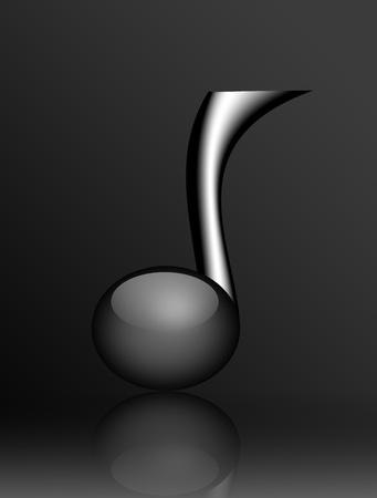 Black musical note on gray background. Illustration illustration