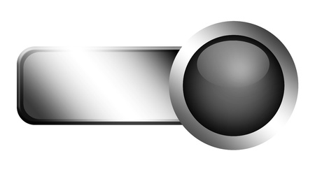 Chrome sheet nd button, Gray sphere, Empty to insert text or design photo