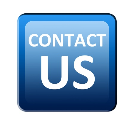 contact info: Contact us advertisement over white background Stock Photo