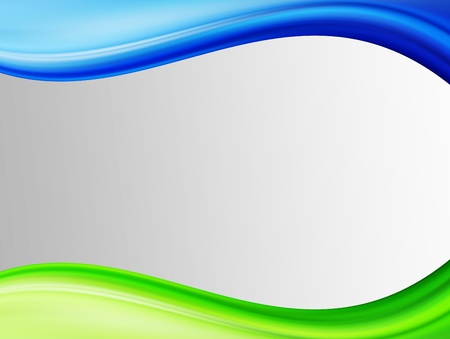 Green and blue waves over gray background. Space to insert text or design Stock Photo - 9692920