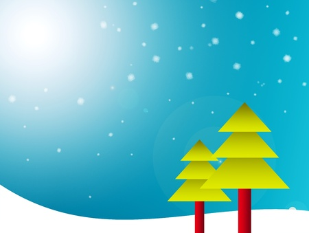 Two christmas pines on sky background. Card Illustration  illustration
