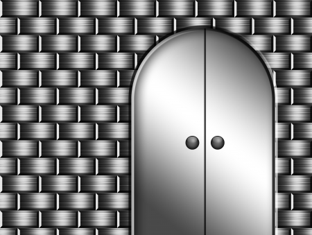 Silver door over chrome wall. Space to insert text or design Stock Photo - 9693008