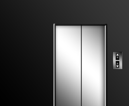 sliding door: Chrome elevator door on gray wall with up and down buttons