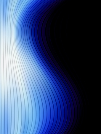 Blue dynamic wave over black background. Space to insert text or design