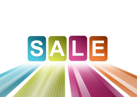 spring sale: Blue, green, purple and orange sale illustration