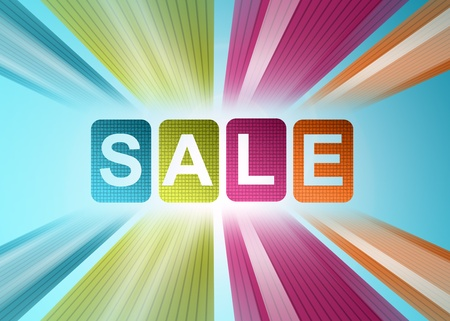 spring sale: Sale colors illustration. Blue, green, purple and orange Stock Photo