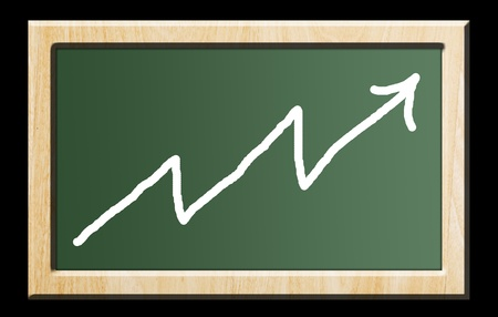 Green chalkboard with wooden frame over black background. Business chart photo