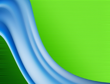 Blue dynamic wave over green background. Illustration illustration