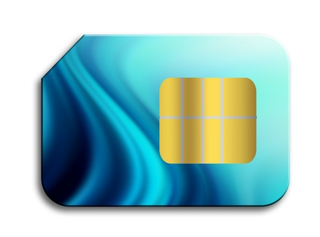 telephony: Blue sim card over white background. Isolated illustration