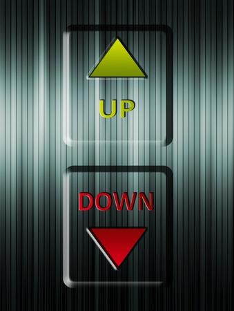 Fl�ches haut et bas ascenseur. Illustration vert et rouge
