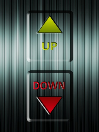 Up and down arrows elevator. green and red Illustration