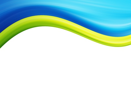 Blue and green waves over white background Stock Photo - 9693181