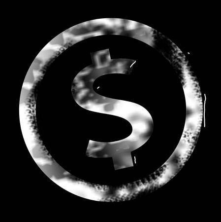 White money sign stamp over black background photo