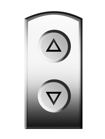 Arriba y abajo de botones del ascensor. Ilustración aislada Foto de archivo - 9693147