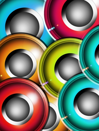 Green, blue, purple, and orange spekers, Abstract illustration Stock Illustration - 9694180