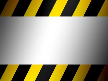 danger ahead: Yellow and black border over chrome background
