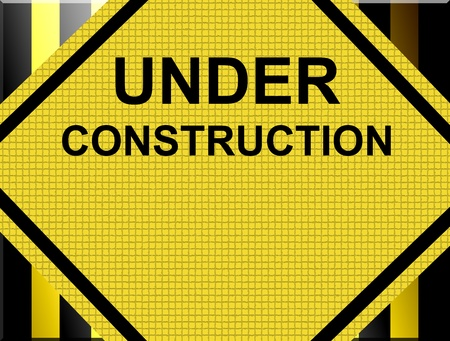 manual workers: Under construction advertisement. Black and yellow lines