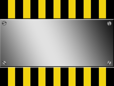hazard tape: Yellow and black lines with chrome sheet