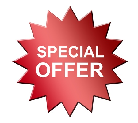 single color image: Red special offer laber over white background. Isolated illustration