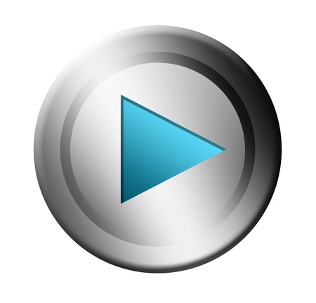 Blue and chrome play button over white background Stock Photo - 9693128