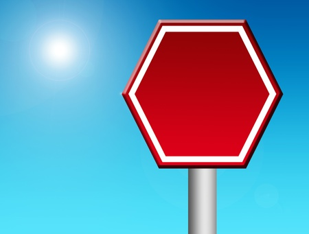 Red stop signal over blue sky background. Blank illustration, insert your text or design illustration