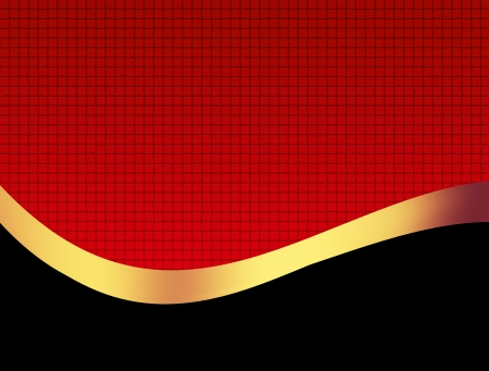 golden background: Black and golden wave over red textured background