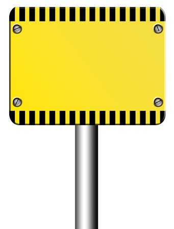 Yellow caution signal over white background. Blank illustration, insert your text or design illustration