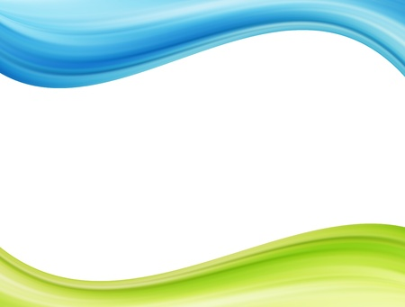 Blue and green waves over white background. Template illustration  Imagens