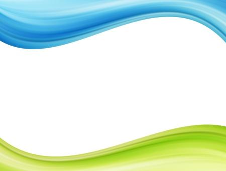 fondo elegante: Ondas azules y verdes sobre fondo blanco. Ilustraci�n de plantilla