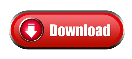 Red download button over white background. Isolated illustration illustration