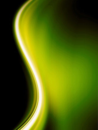 green light: Green wave over black background. abstract illustration