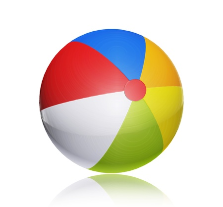 float fun: Red, blue, orange, white and green ball. Isolated object