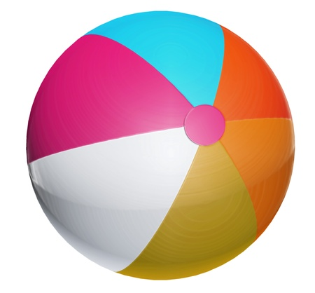 Blue, orange, purple and white ball. Isolated object photo