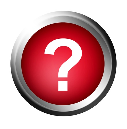 Question symbol on red button. Chrome frame, Isolated illustration illustration
