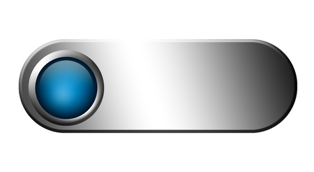 Blue button on chrome frame. Blank to insert text. Illustration Stock Illustration - 9693141
