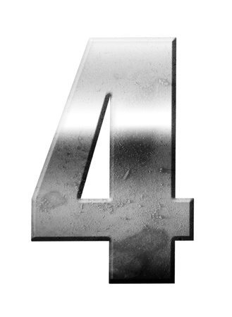 number four: Chrome number Four over white background, Metallic texture