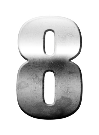 Chrome number eight over white background, Metallic texture photo
