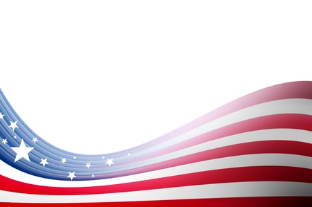 stars and stripes: Usa flag illustration, abstract wave over white background