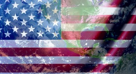 Usa flag with world background. Concept illustration illustration