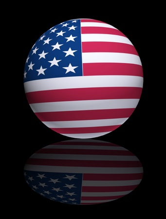 Sphere with usa flag over black background Stock Photo - 9693087